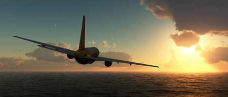 flight: sunset and passenger plane in 3d