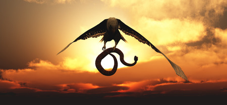 Eagle flying in the clouds at dawn and snake Imagens