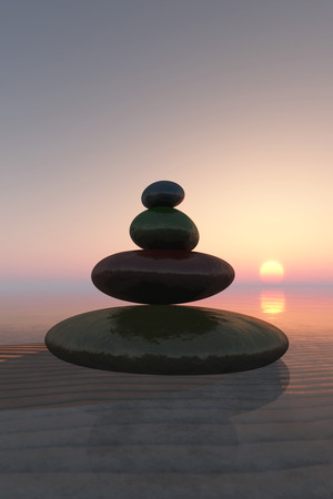 color zen stones concept in 3d