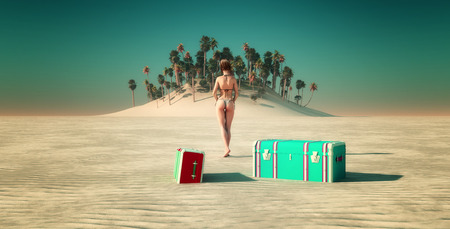 oceana: Sun and beach and woman  landscape in 3d Stock Photo