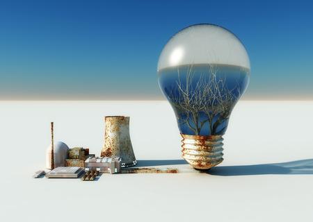 ecosistema: concepto de imagen 3d de la energía y de los ecosistemas Foto de archivo