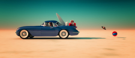 cars on road: Car and happy woman traveling to the beach Stock Photo
