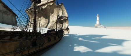 old ship: old ship in desert and lightouse