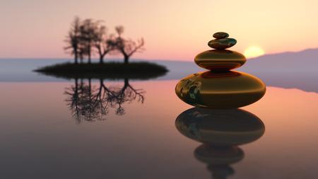 Zen stenen-concept in 3d Stockfoto