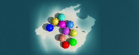majorca: illustration of majorca island and tourist concept