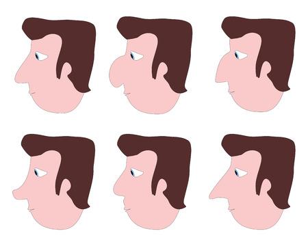 diferent: illustration of diferent noses Stock Photo