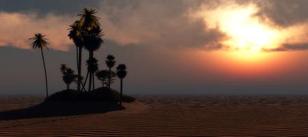 an oasis: illustration of oasis in desert Stock Photo