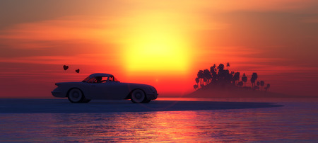 beach sunset: illustration of sunset, summer car and beach