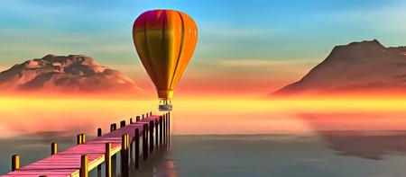 landscape and balloon oil painting Standard-Bild
