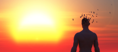 man falling: sunset and head of a man falling apart, psychology concept Stock Photo