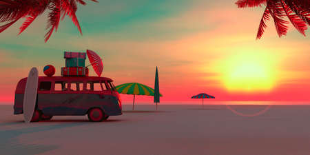 exotic car: car on the beach and sunset in summer