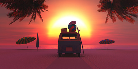 majorca: car on the beach and sunset in summer