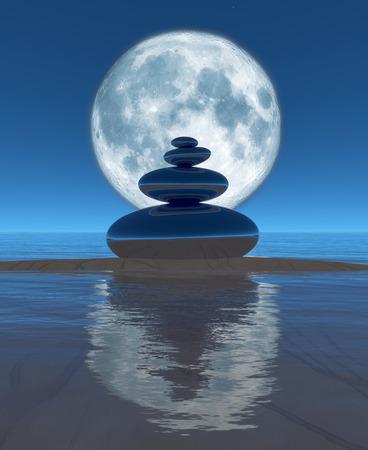 zen stones, moon and reflection