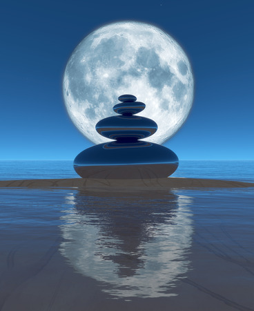 zen stones, moon and reflection