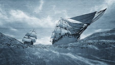 pirate boat: contour line drawing of two sailboats sailing with blue background Stock Photo