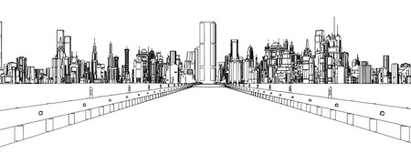 line drawing: contour line drawing of a city with white background