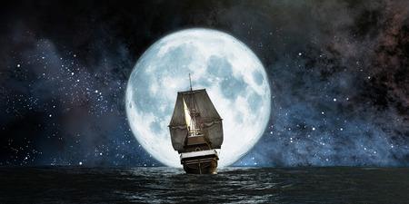 barco pirata: Luna, el barco y la reflexión en el agua