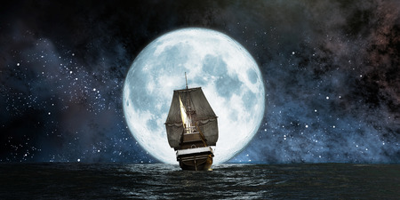 pirate ship: moon, boat and reflection in the water Stock Photo