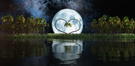 caribbean beach: forming a heart two palms and moon on a tropical island Stock Photo
