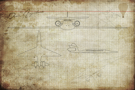 aged paper: original sketches the design of a plane in aged paper with firm Stock Photo