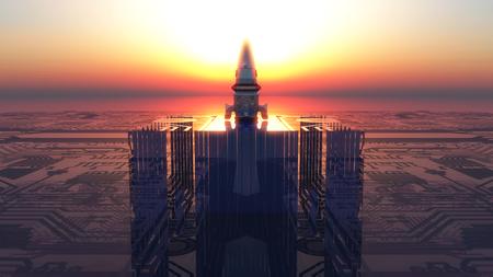 circuitos electronicos: plataforma de cohetes de circuitos electr�nicos y la puesta del sol