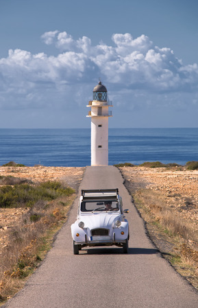 formentera: car and lighthouse in formentera