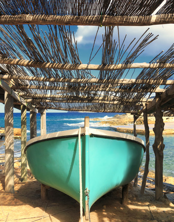 formentera: boat in calo san agusti in formentera,spain Stock Photo