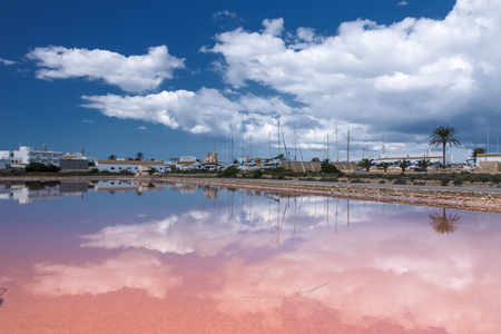 formentera: salt lake on the island of Formentera, Spain Stock Photo