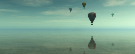 hot air balloons: hot air balloons and blue sky Stock Photo