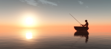 fishermen: fisherman and fishing boat floating in the sea Stock Photo