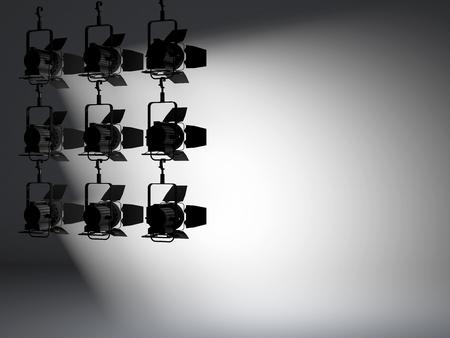 illuminated: studio and spotlights with background illuminated