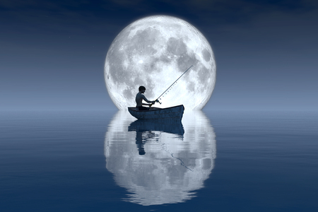 moon fish: fisherman and fishing boat floating in the sea Stock Photo