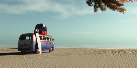 car on a tropical beach and palm