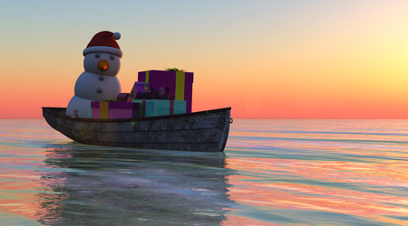 boat christmas concept and sea