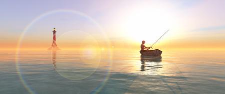 pescador: pescador y barco de pesca flotando en el mar Foto de archivo