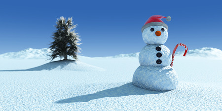 christmas concept: Christmas concept with snowman and tree
