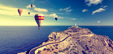 on air: hot air balloons and blue sky in formentor