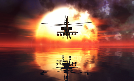 military helicopter: military helicopter and sunset