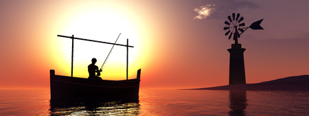traditional windmill: traditional windmill and traditional boat in the Balearic Islands, Spain Stock Photo