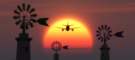 traditional windmill: sunset, airplane and traditional windmill in Mallorca, Balearic Islands, Spain