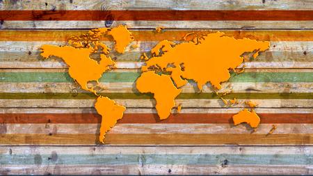 exhibidor: tabla de madera con relieve de un mapa del mundo