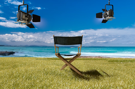 holiday movies: movie studio and sunny day in formentera beach, spain Stock Photo
