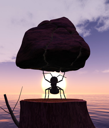 antrey: Illustration of ant lifting a rock and sunset Stock Photo