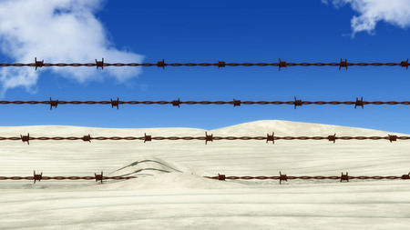 prison guard: 3d illustration rusty barbed wire metal Stock Photo