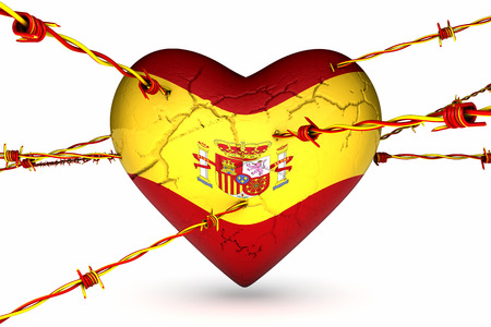 heart with Spain flag crossed by barbed wire with the colors of the Catalonia flag
