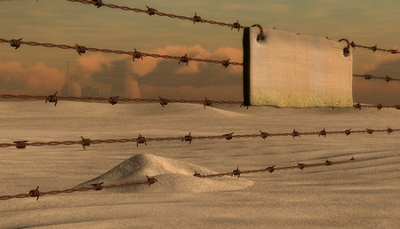 barbwire: 3d illustration rusty barbed wire metal and sign Stock Photo