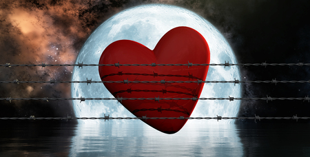 barbwire: 3d illustration rusty barbed wire metal and heart Stock Photo
