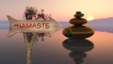 tronc et panneau en bois indiquant le concept zen