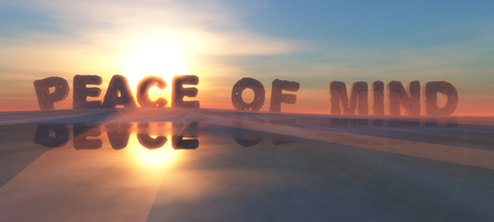 illustration of words on the horizon indicating peace of mind Standard-Bild