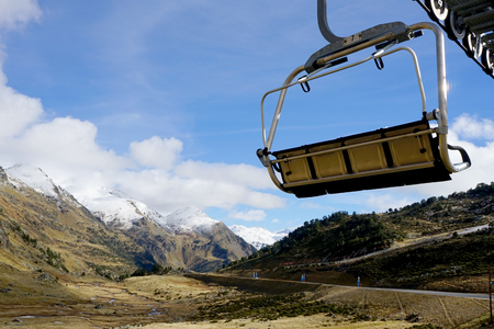 tourism in andorra: landscape of mountains in Andorra and chairlift
